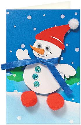 Открытка своими руками со снеговиком
