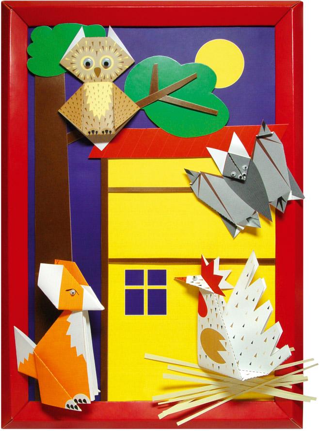 Картина с использованием фигурок оригами